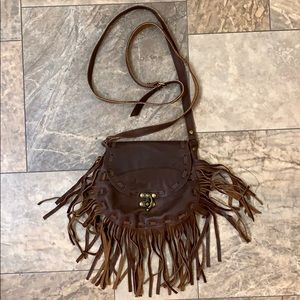 Free People Boho Brown Leather Fringe Satchel Bag